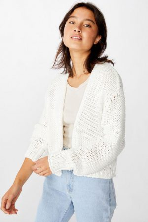 Cotton On Sweaters & Cardigans | Womens Chunky Cropped Cardi Cloud Dancer