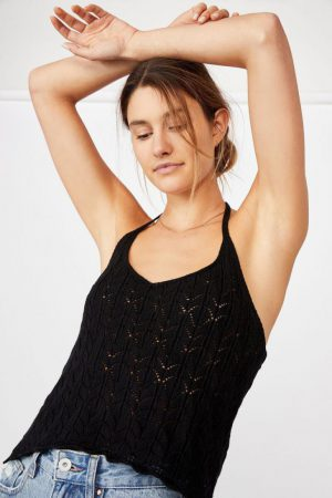 Cotton On Sweaters & Cardigans | Womens Crochet Halter Tank Black