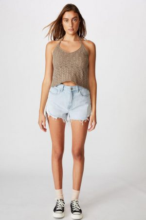 Cotton On Sweaters & Cardigans | Womens Crochet Halter Tank Desert Taupe