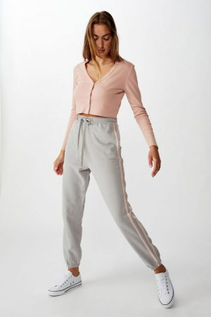 Cotton On Sweatpants | Womens High Waisted Trackpant Alloy/Rose Smoke Side Stripe