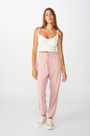 Cotton On Sweatpants | Womens High Waisted Trackpant Bridal Rose Nep