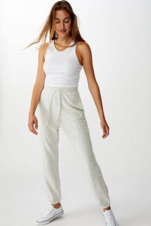 Cotton On Sweatpants | Womens High Waisted Trackpant Grey Marle Nep