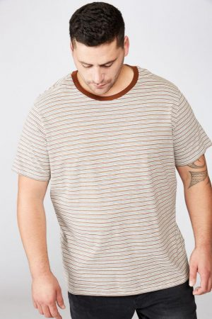 Cotton On T-Shirts | Mens Bg Dylan Tee Vintage White/Daschund Brown/Pale Sand/Washed Blac