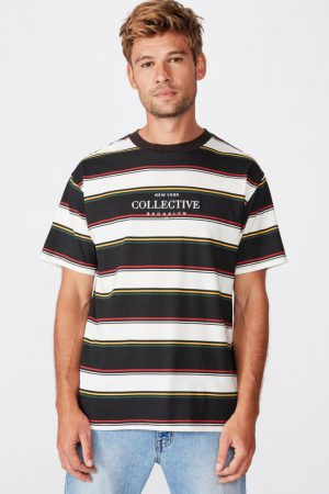 Cotton On T-Shirts | Mens Downtown Loose Fit Tee Black Mixed Stripe