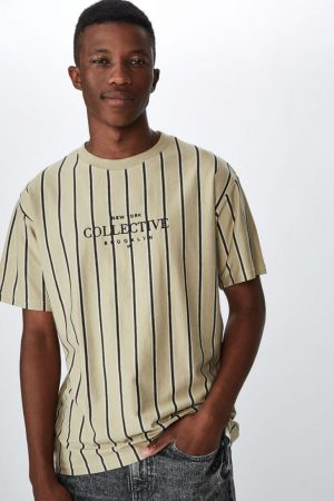 Cotton On T-Shirts | Mens Downtown Loose Fit Tee Gravel Thin Stripe