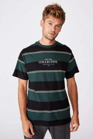 Cotton On T-Shirts | Mens Downtown Loose Fit Tee Green Bold Stripe