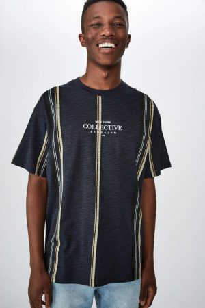 Cotton On T-Shirts | Mens Downtown Loose Fit Tee Navy Wide Stripe