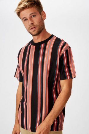 Cotton On T-Shirts | Mens Downtown Loose Fit Tee Red Random Stripe