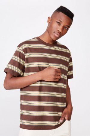 Cotton On T-Shirts | Mens Dylan Tee Chocolate Brown/Frosted Honey/Vintage White/Washed