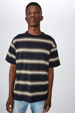 Cotton On T-Shirts | Mens Dylan Tee Late Night Blue Oversized Stripe