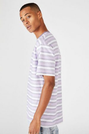 Cotton On T-Shirts | Mens Dylan Tee Purple Zone Stripe