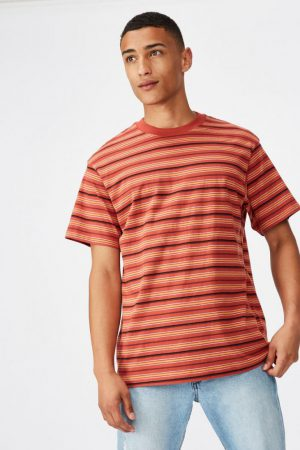 Cotton On T-Shirts | Mens Dylan Tee Red Earth Stripe