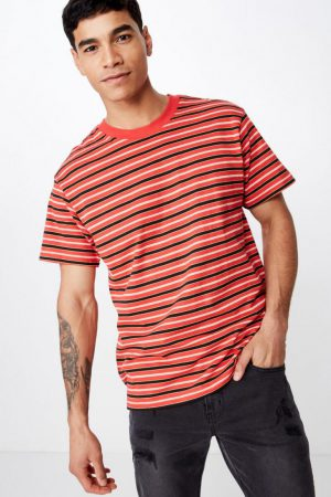 Cotton On T-Shirts | Mens Dylan Tee Red/Sauterne Yellow/Black/Vintage White Stripe