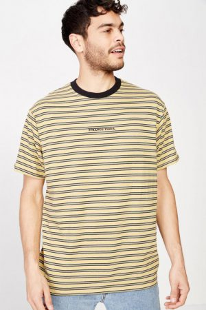 Cotton On T-Shirts | Mens Dylan Tee Sauterne Yellow/Washed Black/Bush Green/Pearl