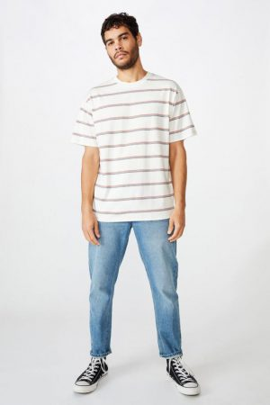 Cotton On T-Shirts | Mens Dylan Tee Vintage White Sunny Stripe
