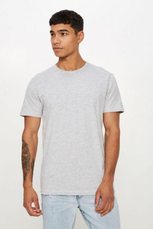 Cotton On T-Shirts | Mens Essential Crew Tee Light Grey Marle