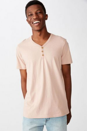 Cotton On T-Shirts | Mens Essential Henley Dirty Pink