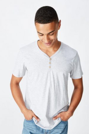 Cotton On T-Shirts | Mens Essential Henley Light Grey Marle