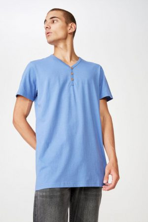 Cotton On T-Shirts | Mens Essential Henley Riviera Blue