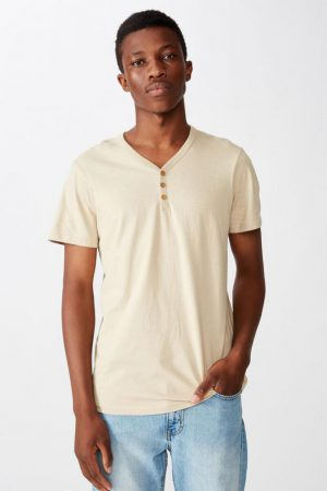 Cotton On T-Shirts | Mens Essential Henley Stone Clay