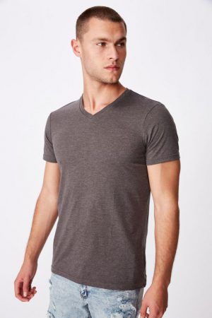 Cotton On T-Shirts | Mens Essential Vee Neck Charcoal Marle