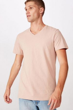 Cotton On T-Shirts | Mens Essential Vee Neck Dirty Pink