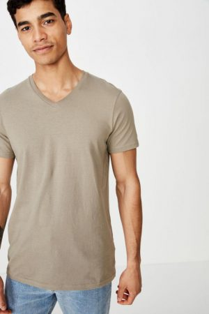 Cotton On T-Shirts | Mens Essential Vee Neck Moss Stone