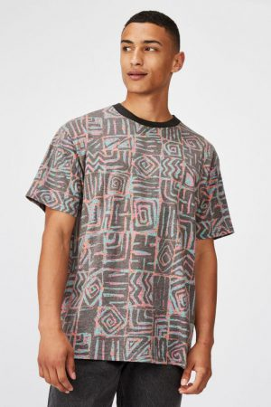 Cotton On T-Shirts | Mens Festival Tee Neon Static Squares