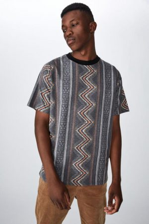 Cotton On T-Shirts | Mens Festival Tee Tribal Zig Zag