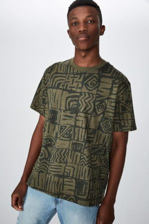 Cotton On T-Shirts | Mens Festival Tee Washed Khaki Static Squares