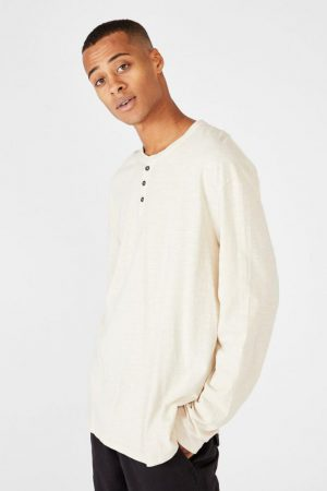 Cotton On T-Shirts | Mens Henley Ls Pearl