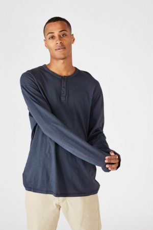 Cotton On T-Shirts | Mens Henley Ls True Navy