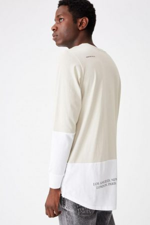 Cotton On T-Shirts | Mens Long Sleeve Curved Hem Smoke/White/Disrupting The Hive