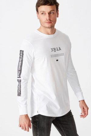 Cotton On T-Shirts | Mens Long Sleeve Curved Hem White/Ny.La Chaos