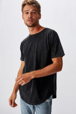 Cotton On T-Shirts | Mens Longline Scoop Burnout Tee Washed Black