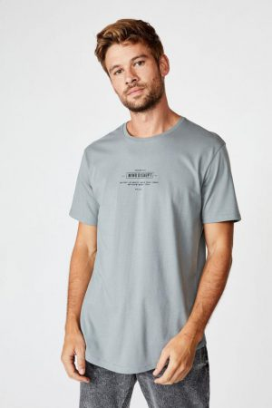 Cotton On T-Shirts | Mens Longline Scoop Tee Citadel/Mind Disrupt