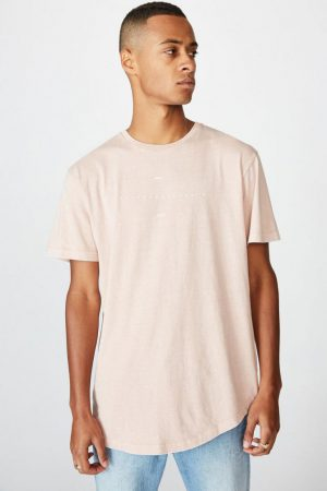 Cotton On T-Shirts | Mens Longline Scoop Tee Dirty Pink/Underground