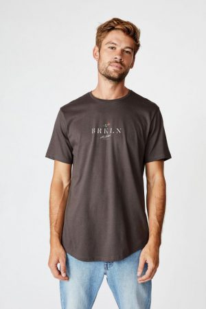 Cotton On T-Shirts | Mens Longline Scoop Tee Faded Slate/Brklyn