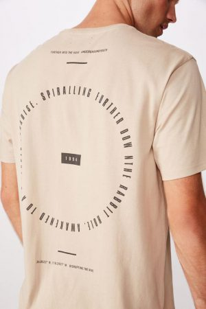 Cotton On T-Shirts | Mens Longline Scoop Tee Pearl Further Into The Void