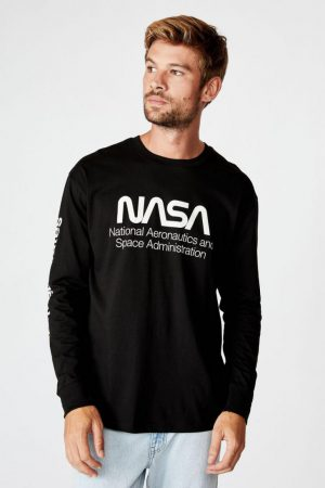 Cotton On T-Shirts | Mens Tbar Collab Ls Tee Lcn Nas Black/Nasa – Space Administration