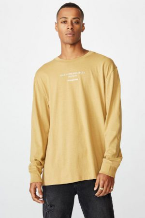 Cotton On T-Shirts | Mens Tbar Long Sleeve Camel/Unknown Japan