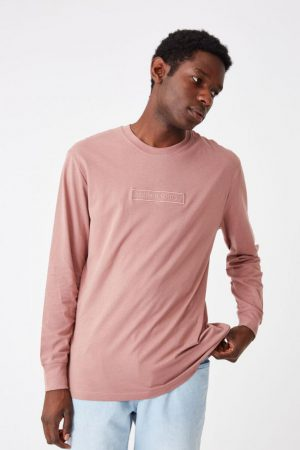 Cotton On T-Shirts | Mens Tbar Long Sleeve Dirty Burg/Modern Edition Emb