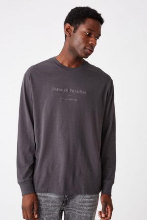 Cotton On T-Shirts | Mens Tbar Long Sleeve Faded Slate/Abstract Collective Emb
