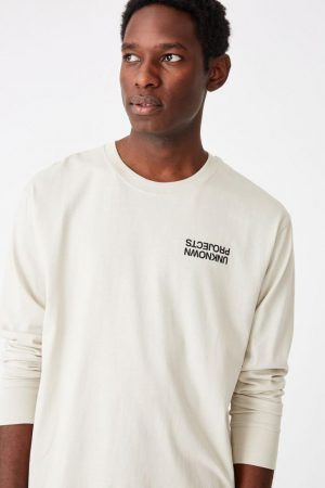 Cotton On T-Shirts | Mens Tbar Long Sleeve Smoke/Unknown Projects Chest