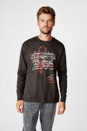 Cotton On T-Shirts | Mens Tbar Long Sleeve Washed Black/Chapter One