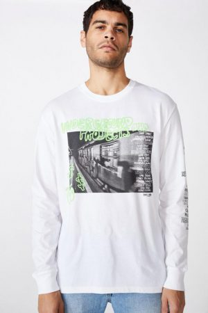 Cotton On T-Shirts | Mens Tbar Long Sleeve White/Underground Projects