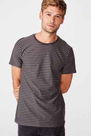 Cotton On T-Shirts | Mens Tbar Premium Crew Faded Slate Self Stripe