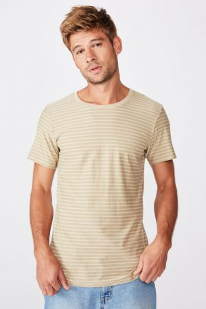 Cotton On T-Shirts | Mens Tbar Premium Crew Gravel Stone Self Stripe