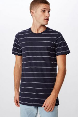 Cotton On T-Shirts | Mens Tbar Premium Crew True Navy/White Spaced Double Stripe