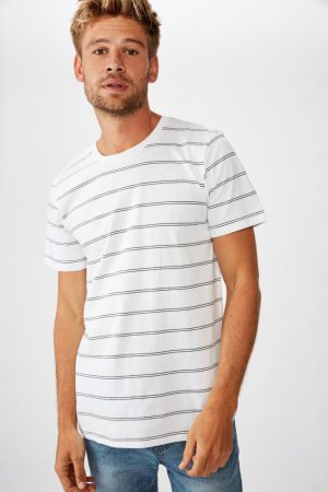 Cotton On T-Shirts | Mens Tbar Premium Crew White/True Navy Spaced Double Stripe